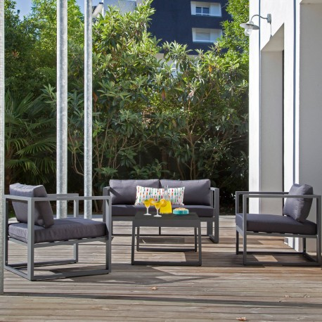 Salon de jardin alu 4 places - Manhattan Gris - PROLOISIRS