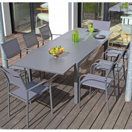 Table en aluminium avec allonge Solem 178/268cm grise - PROLOISIRS