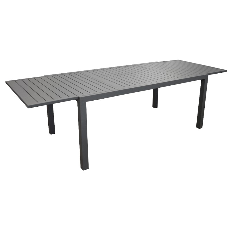 table en aluminium avec allonge solem 178 268cm grise proloisirs. Black Bedroom Furniture Sets. Home Design Ideas