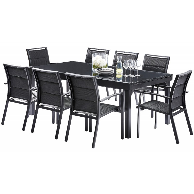 ensemble repas modulo table 8 12 places 8 fauteuils wilsa. Black Bedroom Furniture Sets. Home Design Ideas
